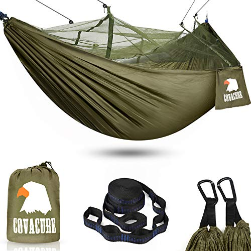 covacure Camping Hammock with Net - Lightweight Double Hammock, Portable Hammocks for Indoor, Outdoor, Hiking, Camping, Backpacking, Travel, Backyard, Beach