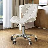 TUKAILAI 1 silla de oficina ajustable de piel sintética giratoria para computadora con ruedas, silla para el hogar, oficina, sala de estudio, muebles con base cromada y giratoria acolchad blanco