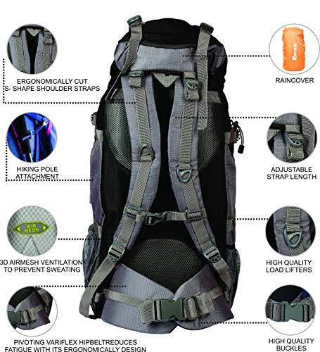 Impulse Inverse U 65 litres Waterproof Rucksack Backpack for Travelling Trekking Hiking with Free Raincover (Grey)