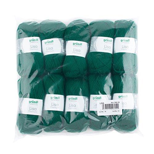 Gründl Lisa Premium Wolle, Polyacryl, tannengrün, 133 m, Nadelstärke 3,5- 4,5, 10er Pack