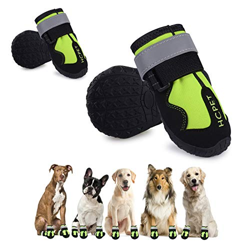 Hcpet Dog Boots, Waterproof Dog Shoes, Dog Booties with Reflective Rugged Anti-Slip Sole and Skid-Proof, Outdoor Dog Rain Boots for Small to Large...