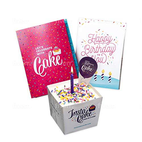 POP UP BIRTHDAY CARD by INSTACAKE | Let's Celebrate with Cake Birthday Card | Includes Single Serve Mug Cake - Vanilla Funfett Gluten Free Cake Mix | Pink Birthday Pop Up Cards for Men, Women, & Kids