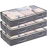 3 Pack Bolsas de Almacenamiento Debajo de la Rama Bolsa de Ropa Plegable de 75 l Recipientes de Almacenamiento de Gran Capacidad con Ventana Transparente Asas Reforzadas Organizador con Cremallera