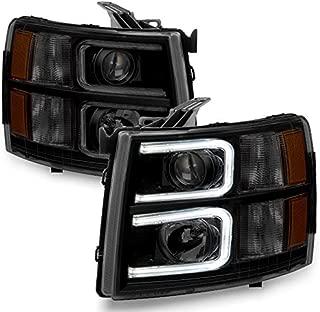 For 2007-13 Chevy Silverado 1500 | 2007-14 2500HD 3500HD LED C-Shape Tube Black Smoked Projector Headlights Pair Set