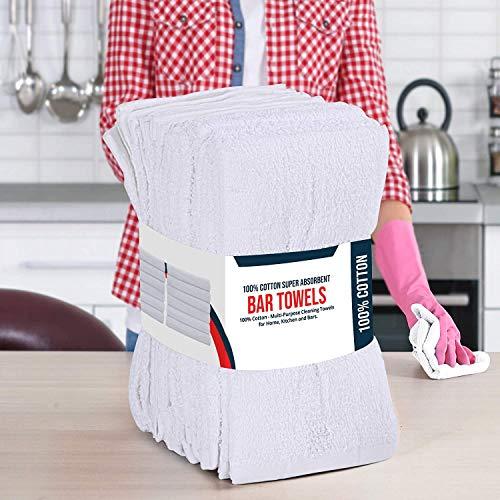 Utopia Cotton Bar Mops Kitchen Towels, 12-Pack, White