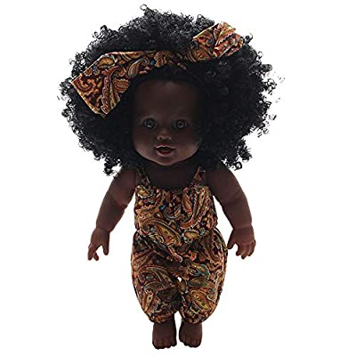 Wenini 30cm/11.8inch Handmade Silicone Lifelike African American Dolls Baby Play Dolls Toy for Kids Birthday Festival Gift