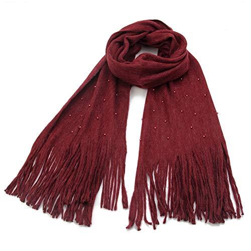 MYTJG Lady sjaal Mode Winter Beige Grijs Groen Kwastje Kasjmier Sjaal Met Parel Vrouwen Warm En Comfortabele Warmte