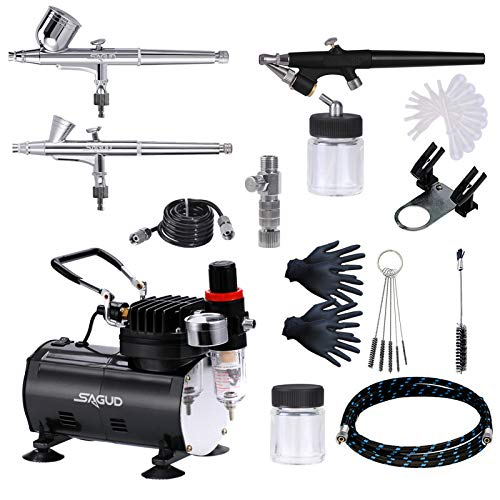 SAGUD Air Brush Compressor Airbrushing Kit with 3 Professional Airbrushes, 0.2mm, 0.3mm Gravity Feed, 0.8mm Siphon Feed for Cake, Nails, Body Art, Hobby, Craft with More Airbrush Accessories…