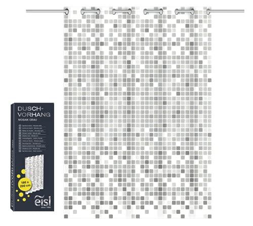 EISL Textil Duschvorhang mit Motiv (180x200 cm) für die Badewanne, waschbarer Antischimmel Vorhang mit wasserdichter Beschichtung, Vollständig Blickdicht, Mosaik Grau