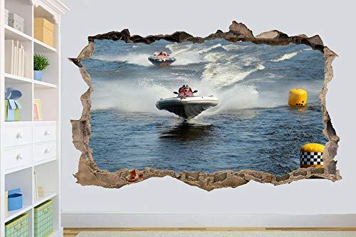 Pegatinas de pared Montado en la pared decoración de la habitación mural barco de velocidad