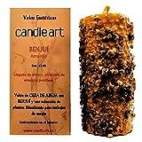 Candle Art Vela BENJUÍ Dinero. Color Amarillo, Cera de Abeja con Plantas. Vela esotérica ritualizada para Trabajos de Magia.