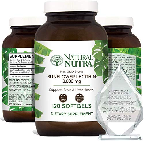 Natural Nutra Sunflower Lecithin 2000 mg, Phosphatidyl Choline, Brain Health, Reduce Clogged Ducts,...