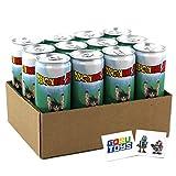 Dragon Ball Z Spirit Bomb Energy Drink 12 FL OZ (355mL) DBZ Goku Can - 12 Pack Case With 2 GosuToys Stickers