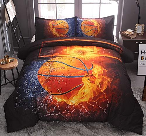 HTgroce 3D Basketball Comforter Quilt Set for Teen Boys Girls Full/Queen Size(79''x90''),3PCS,1 Comforter+2 Pillow Shams