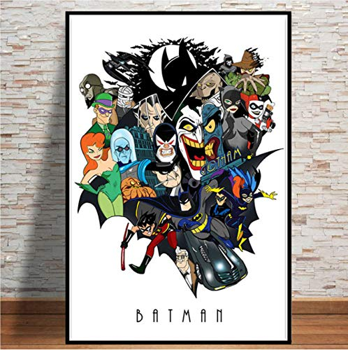PCWDEDIAN Toile Peinture Batman Série Animée DC Super-Héros Bande Dessinée Collage Affiches Imprime Mur Art Photos Décor À La Maison Pl62 40X50Cm