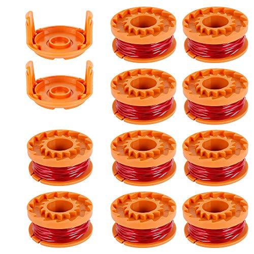10pcs Rocchetti Filo Decespugliatore in Nylon 3m 1.65mm WORXWG163 WG180 WG175 WG150 WG160 con 2pcs Coperchio di Ricambio