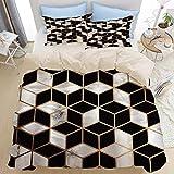 Juego de cama de 3 piezas, cubos de lneas geomtricas doradas, interior de superficie de mrmol blanco...