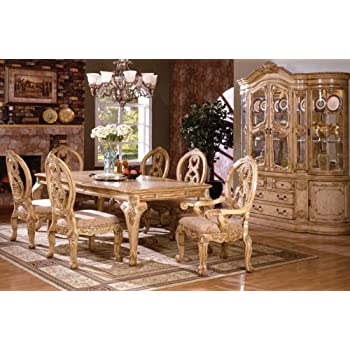 Amazon Com Inland Empire Furniture Tuscany Antique White Wash Solid Wood 7 Piece Formal Dining Set Table Chair Sets