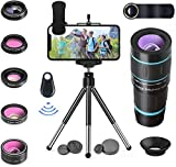 6 in 1 Phone Camera Lenses Kit 18X Telephoto Lens, Kaleidoscope Lens, Wide Angle Lens & 15X Macro Lens, 198°Fisheye Lens, CPL, Remote Control, Tripod, Compatible with iPhone, Samsung Android Phones