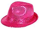 Alsino Pailletten Hut Glitzerhut Bogart Trilby (Th-55) pink - Faschingshut für Männer und Damen