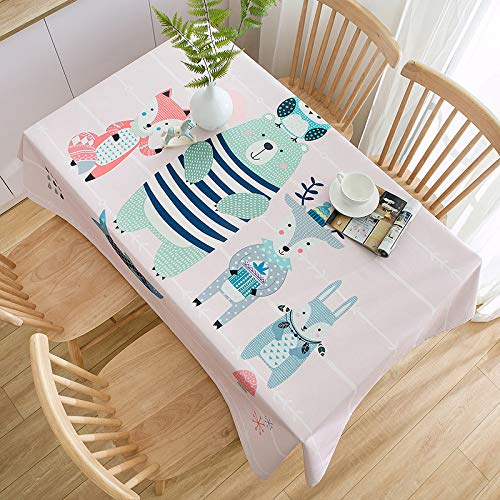 WSJIABIN Home Decoration Tablecloth New Cotton Linen Waterproof and Oil-Proof Nordic Geometric Alphabet Kitchen Dining Tablecloth