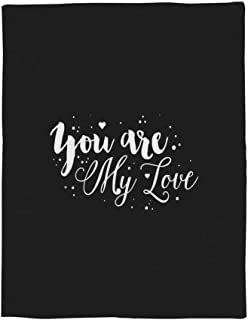 LALADecor Romance Text Plush Microfiber Fabric Throw Blanket Lightweight Warm Couch Bed Blankets 40x50 inch, You are My Love