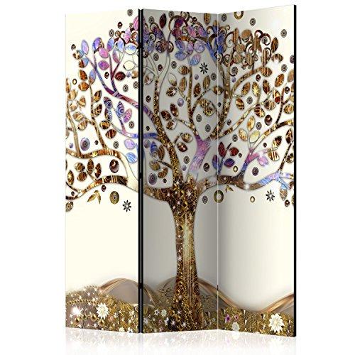 murando Raumteiler & Pinnwand Foto Paravent Baum 135x172 cm beidseitig auf Vlies-Leinwand Bedruckt Trennwand Spanische Wand Sichtschutz Raumtrenner beige Gold braun l-A-0002-z-b