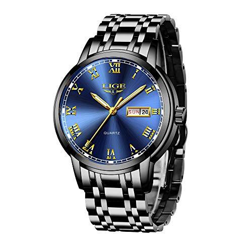 LIGE Herren Uhren Edelstahl Mesh Wasserdicht Sport Analoger Quarz Uhr Beiläufig Armbanduhr (9 Schwarze Rose)