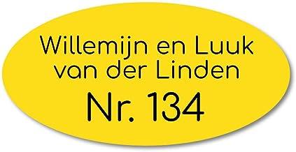 Naamplaatje geel ovaal t.b.v. brievenbus, 12x6 cm