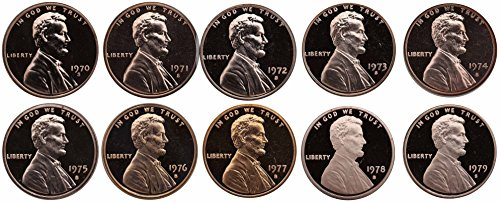 1970-1979 S Lincoln Memorial Cent Gem Deep Cameo Proof Run 10...