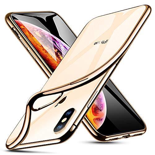 ESR Klare Silikon Hülle für iPhone XS Hülle, iPhone X Hülle, Dünne transparente TPU Handyhülle mit Farbrahmen - Weiche durchsichtige Schutzhülle [Kratzfest] für das iPhone XS/X 5.8 Zoll -Gold Rahmen