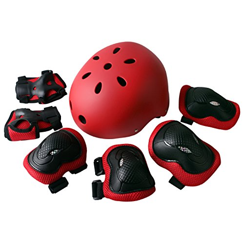 Rayhome Sports Protective Gear Skating Knee Elbow Support Pads Set Outdoors Safety Protection for Scooter, Skateboard, Bicycle, Rollerblades (Red)