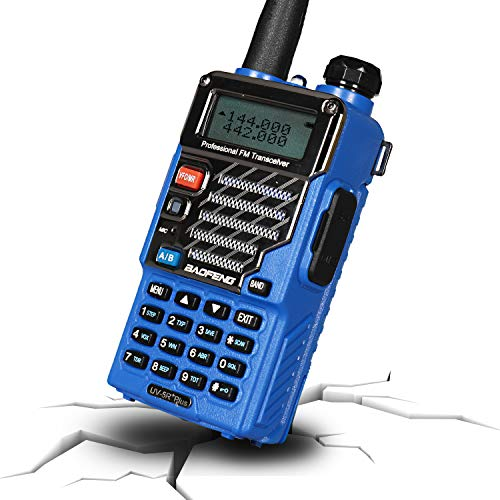 BAOFENG UV-5R+ Plus Two Way Radio, Long Range for Adults Rechargeable with Earpiece, Walkie Talkie for Outdoors, Ham Radio UHF VHF, Qualette Series (Blue)