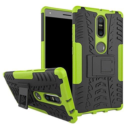 Sunrive Für Lenovo Phab 2 Plus, Hülle Tasche Schutzhülle Etui Hülle Cover Hybride Silikon Stoßfest Handyhülle Hüllen Zwei-Schichte Armor Design schlagfesten Ständer Slim Fall(grün)