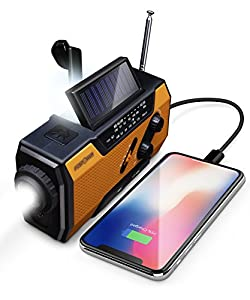 FosPower Emergency Solar Hand Crank Portable Radio, NOAA Weather Radio for Household and Outdoor Emergency with AM/FM, LED Flashlight, Reading Lamp, 2000mAh Power Bank USB Charger and SOS Alarm by FosPower