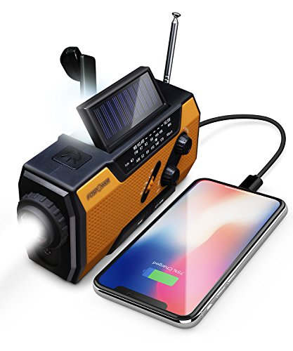FosPower 2000mAh NOAA Emergency Weather Radio (Model A1) Portable Power Bank with Solar Charging, Hand Crank & Battery Operated, SOS Alarm, AM FM & LED Flashlight for Outdoor Emergency