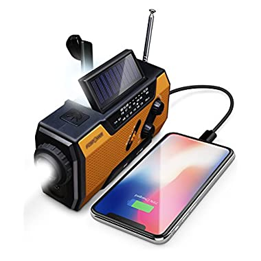 FosPower Emergency Solar Hand Crank Portable Radio, NOAA Weather Radio for Household and Outdoor Emergency with AM/FM, LED Flashlight, Reading Lamp, 2000mAh Power Bank USB Charger and SOS Alarm
