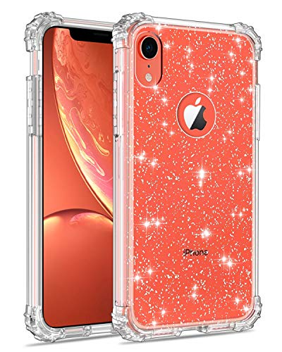 Lontect Compatible iPhone Xr Case Glitter Crystal Clear Sparkle Bling Heavy Duty Hybrid Sturdy High Impact Shockproof Protective Cover Case for Apple iPhone Xr 6.1 2018, Clear/Silver Glitter