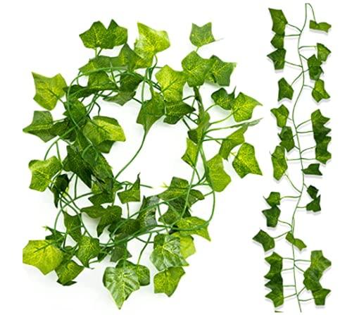 Efeu - Ghirlanda artificiale da appendere, 12 pezzi, ghirlanda di edera artificiale da appendere, 80 foglie, ghirlanda di edera per matrimonio, decorazione da parete