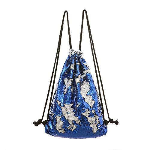 QXbecky Borsa da donna sirena paillettes tasca a sacco tasca esterna custodia con coulisse zaino sportivo borsa a tracolla borsa da viaggio per il tempo libero tesoro blu + bianco 34x45cm