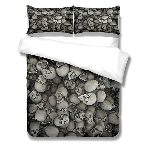 Eainkj Kid Printed Duvet Cover King bed 230x220cm 3D skull skeleton Halloween Children's rooma and bedroom Bedding Boy Girl Soft 3 pcs Duvet Cover Set with Zipper Closure