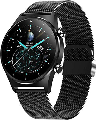 Relojes inteligentes para teléfonos Android iOS Fitness Tracker IP68 impermeable con llamada Bluetooth ritmo cardíaco y presión arterial Monitor Smartwatch-Cinturón de acero negro