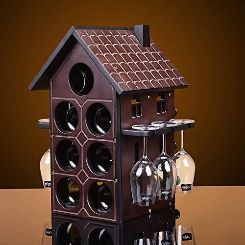 Equipo Vino Estante para Vino Estante para Vidrio Vino de Madera Estante de Madera Maciza Estante para Botellas de Vino Exhibidor de Vino Tinto (sin Botellas y Tazas) 1 PCS bambú