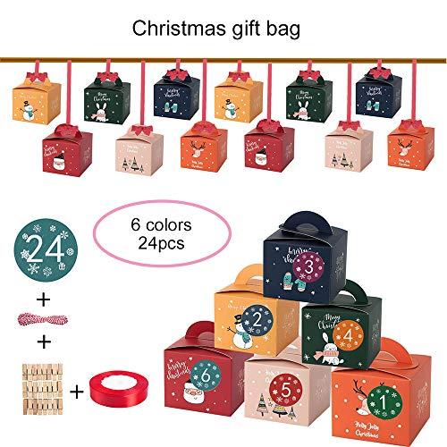 SZFREE Box, 6 kleuren vierkante geschenkzak 1-24 digitale adventskalender fruit snoep verpakking herbruikbare geschenkdoos | Clips katoenen touw | Stickers