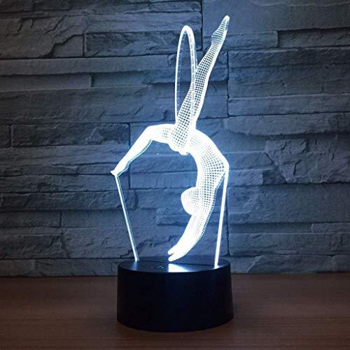 YWAWJ 3D-Nachtlicht for Kinder Gymnastik Moderne Lampe 16 Farben ändern Dimmbare mit Fernbedienung Beleuchtung Schlafzimmer Haus dekorative Lampe