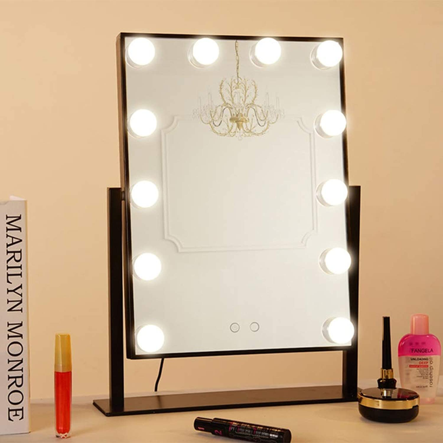 Vanity Mirrors Lighted Vanity Mirror with Touch Control Design, Hollywood Style Makeup Mirrors with Lights, Tabletop Or Wall Mounted (Edition   Charging Black)