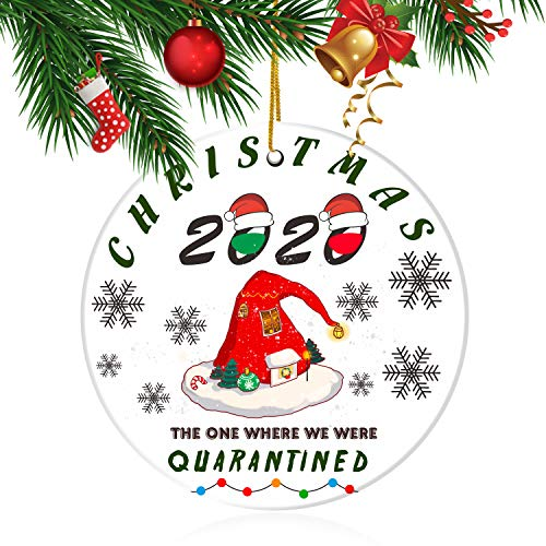 2020 Christmas Ornament Friends Quarantine Gift, Funny 2020 Ornament, 2020 The One Where We were Quarantined Social Distancing Funny Novelty Wood Holiday Decor Santa Hat