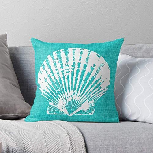 BONRI Ocean Shell Türkisblau Aqua Clam Sea Seafoam Moderne dekorative und leichte weiche Polyester-Kissenbezüge für Schlafzimmer/Wohnzimmer/Sofa Stuhl & Auto,16''×16''