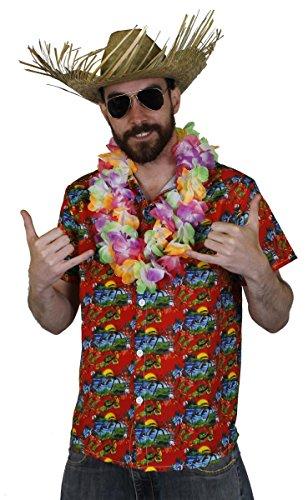 Juego de disfraz de HAWAIIAN para hombre – Camisa HAWAIIAN HULA ROJA + MULTI COLOR FLOR LEI + Sombrero de playa Luau Beach Fiesta Verano (XXL)