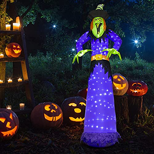 PEIDUO 10Ft Halloween Inflatable Witch Blow up Yard Decorations with 248 Built-in LED Lights for Outdoor Holiday Party Decoration Lawn Garden Décor
